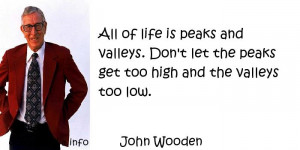 ... peaks and valleys. Don't let the peaks get too high and the valleys