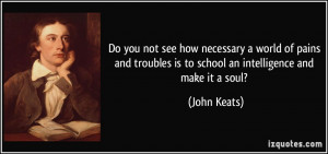 Do you not see how necessary a world of pains and troubles is to ...