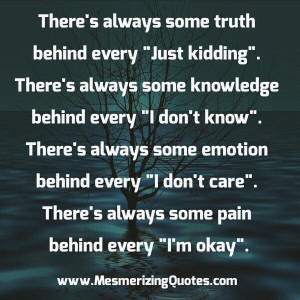 There's always some pain behind every I'm okay