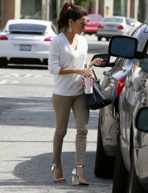 Eva Longoria has been spotted wearing Lacoste Chalk V-Neck Pullover ...