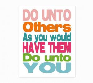 Do Unto Others Bible Quote, Children's Scripture Nursery Art, Pink ...