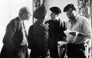 rnest Hemingway (far right) with John Dos Passos (far left), Joris ...