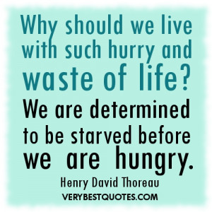 ... life quotes - Why should we live with such hurry and waste of life