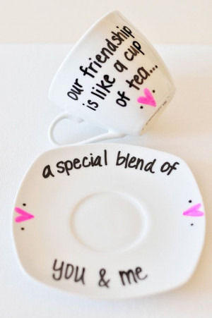 Friendship Tea Cup & Saucer - Cute Saying - Perfect Gift - Hand ...