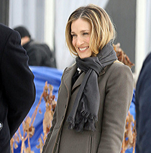 Sarah Jessica Parker wearing Rayon Love Quotes Scarf (Photo Credit ...