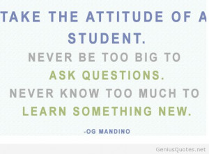 Students attitude quote OG Mandino