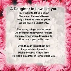 Personalised Coaster - Daughter in Law Poem - Pink Floral + FREE GIFT ...