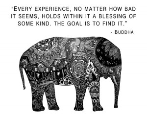 Buddha Quote with Henna Elephant Art Print