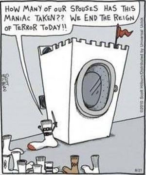 Socks and washing machine - funny cartoon at PMSLweb.com