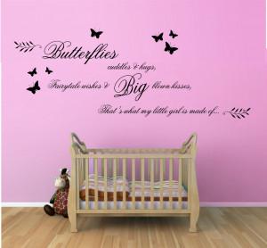 Butterflies, Cuddles and Hugs Quote Vinyl Wall Art Sticker Decal Mural