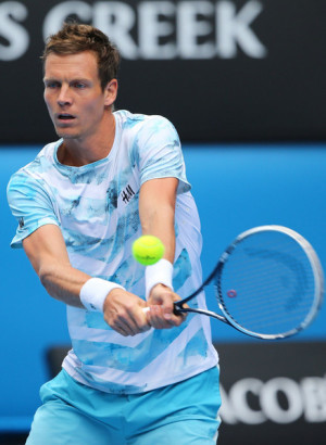 Tomas Berdych Tomas Berdych of the Czech Republic plays a backhand in
