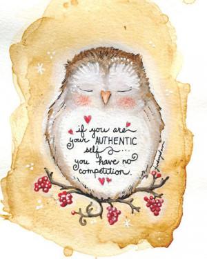 Authentic Owl Affirmation Wisdom Quote 5 x 7 Print by JennyCreates