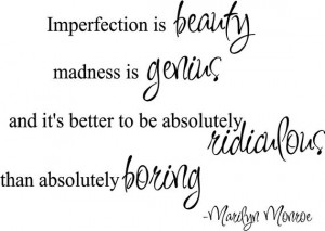 Imperfection is Beauty Marilyn Monroe Quote Vinyl Wall Decal