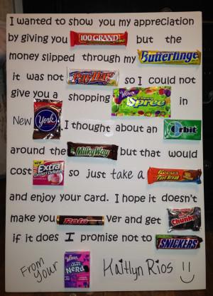 Teacher Appreciation Candy Poem