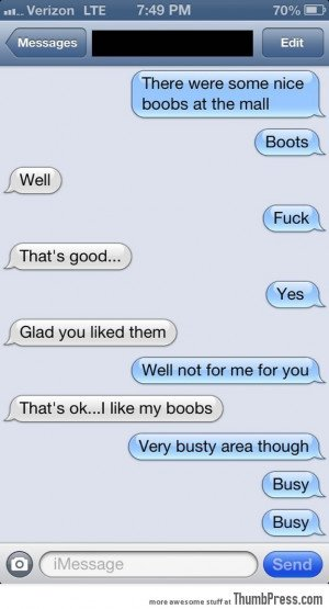 Texting my girlfriend.