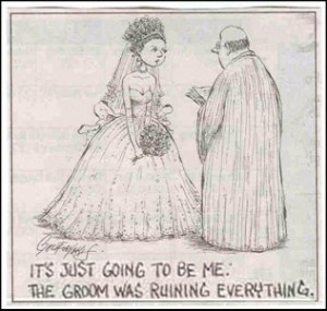 ... when a young woman in a wedding dress came running up to him, crying