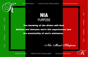 Kwanzaa - Principle 5 - Nia