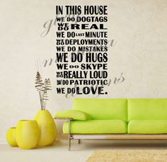 House Military LARGE Quote Wall Vinyl Decor Sticker U Pick Colors Army ...