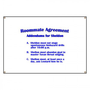 Sheldon Roommate Agreement Greeting Card for