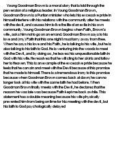 Young goodman brown analysis essay