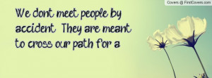 We don't meet people by accident. They are meant to cross our path for ...