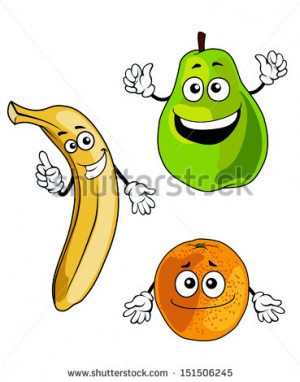 Banana, pear and orange smiling fruits in cartoon style or idea of ...