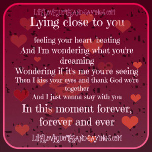 Lying close to you feeling your heart beating