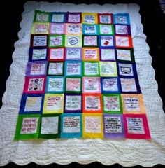 Patchwork quilt project about reading quotes, references include ...