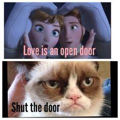 Grumpy cat meets Disney's Frozen; Love is an Open Door. Shut it hahaha ...