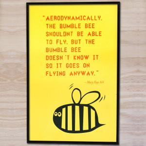 yellow bee print yellow quote bee bumblebee mary kay ash