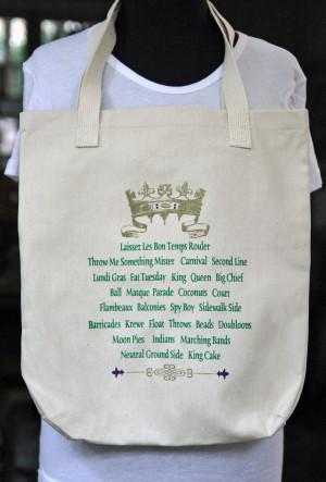 Mardi Gras Crown and Sayings Tote Bag