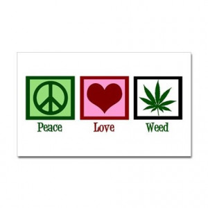 420 Gifts > 420 Stickers > Peace Love Weed Sticker (Rectangle)