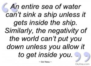 an entire sea of water can't sink a ship goi nasu