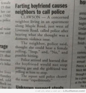 Funny Pictures Farting boyfriend causes neighbors to call police