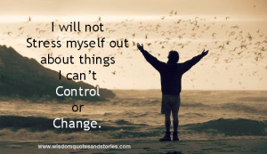 will not stress myself out about things I can't control or change ...