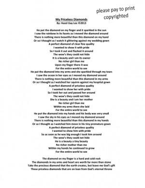 My Priceless Diamonds – Poem About Wedding Ring to Priceless ...