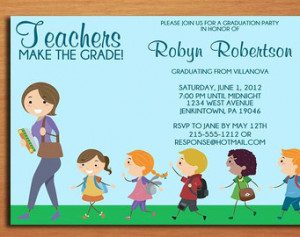 Teacher / Elementary Education Degr ee Graduation Party Invitation ...