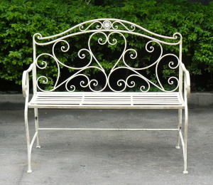 Details about WHITE WROUGHT IRON SHABBY CHIC GARDEN OUTDOOR BENCH 3 ...