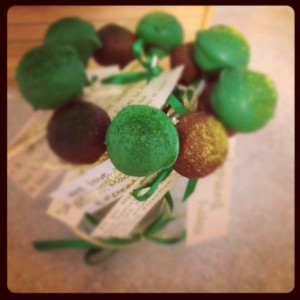 Cake Pops, with quotes for my Husbands Birthday