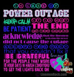 Linemen Rock - In Case of Power Outage, $20.00 (http://www.linemenrock ...