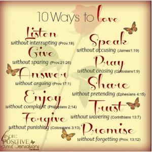 10 Ways to Love. . .
