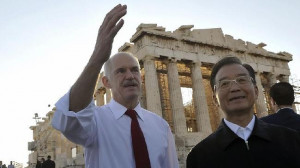 Aus Bus Pix George Papandreou and Wen Jiabao Parthenon Acropolis Greem ...