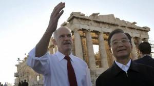 Aus Bus Pix George Papandreou and Wen Jiabao Parthenon Acropolis Greem ...