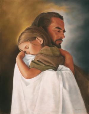 Beautiful Jesus Holding Sleeping Child Picture