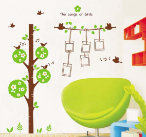 Photo-Frame-Tree-Wall-Stickers-Birds-Kids-Room-Nursery-Decals-Quotes ...