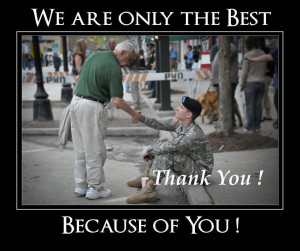 If you know a veteran or happen to meet one, simply say,