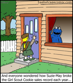 funny picture of girl scout selling cookies to cookie monster to break ...