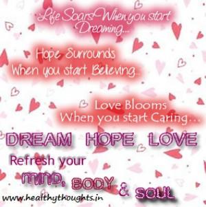love dream hope quotes quotesgram