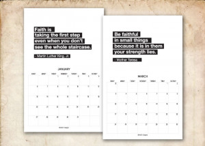 2014 Printable Calendar. Inspirational Quotes. 2 Months per sheet.