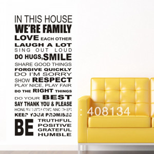 ON sale! Hot HOUSE RULES we are family English Quote/Vinyl Wall Decals ...